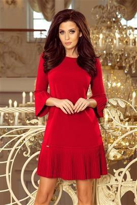 BRANDY - plisowana wygodna sukienka - CZERWONA