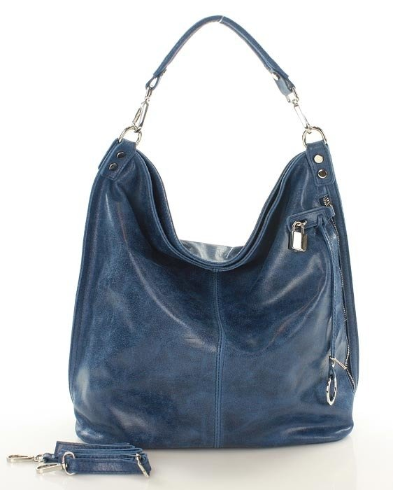 38b6e8491e9aa ... Skóra naturalna torebka worek Isabella MAZZINI niebieska ...