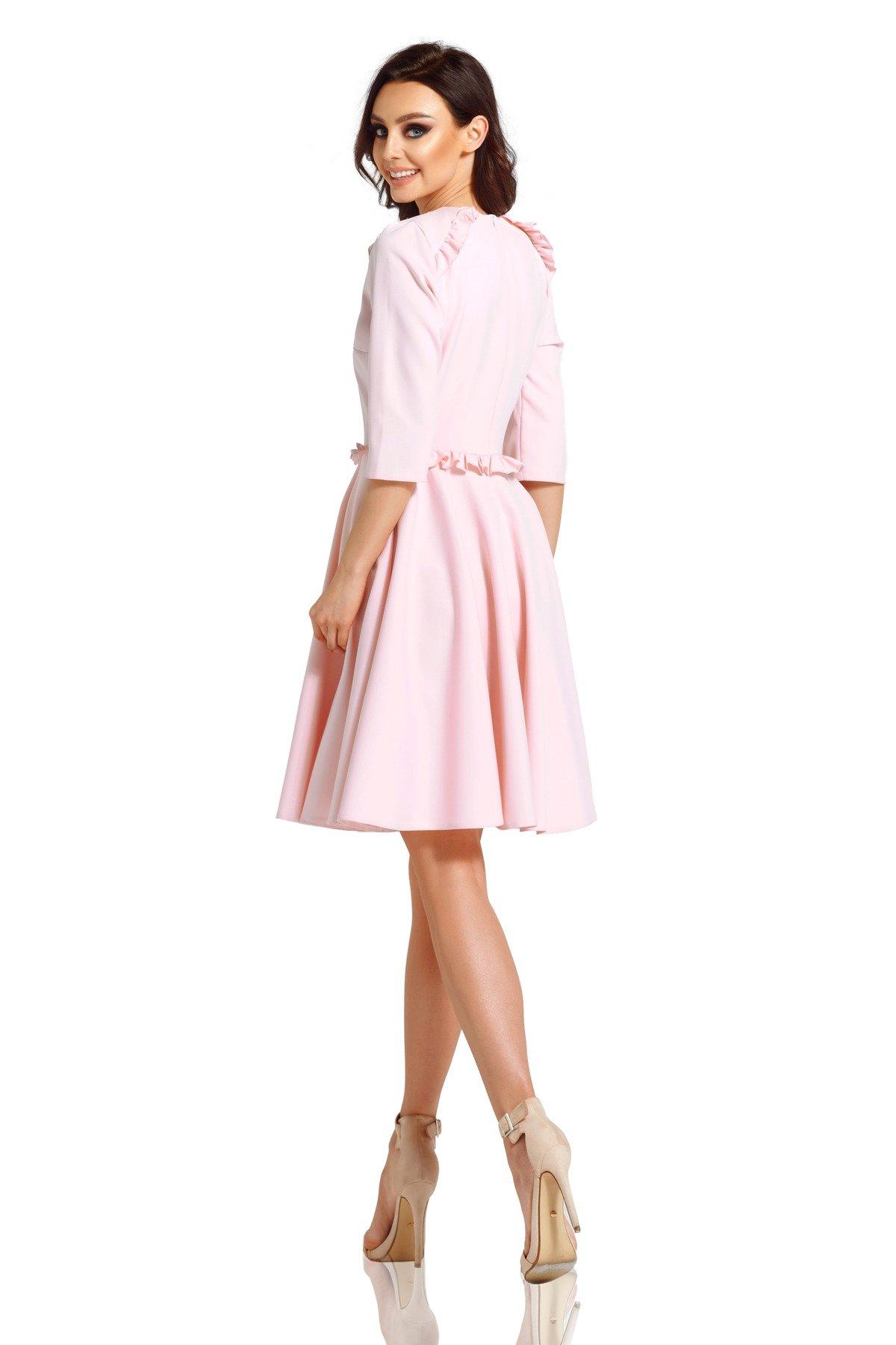 7fd3f27193 lemoniade Kobieca sukienka z falbankami pudrowy róż - Merg.pl