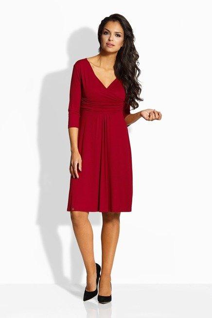 Elegancka rozkloszowana sukienka bordo MARISSA
