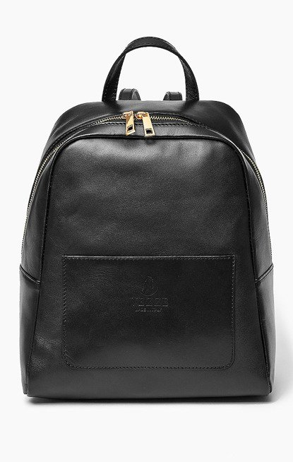 Skórzany włoski plecak ISABELL czarny