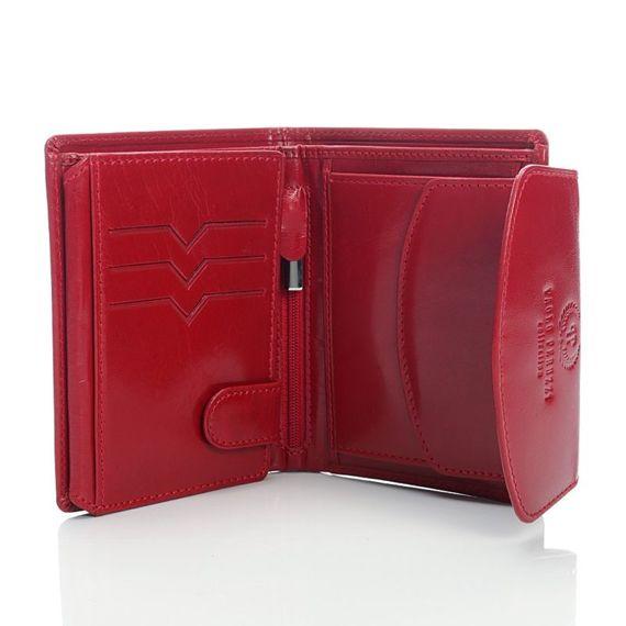 Elegancki, czerwony, skórzany Portfel damski Paolo Peruzzi