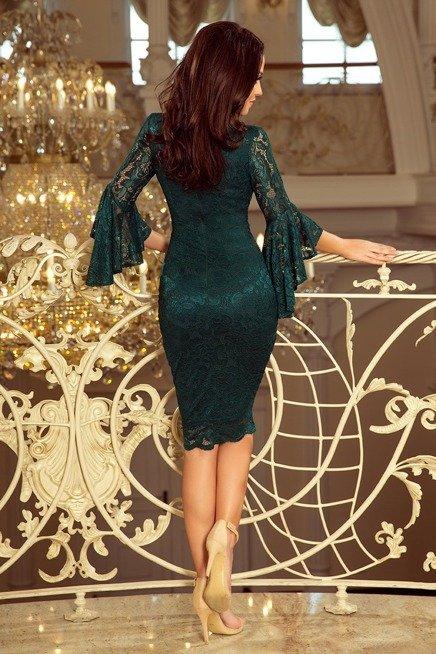 ZOE  Koronkowa sukienka z rozkloszowanymi rękawkami - ZIELEŃ BUTELKOWA