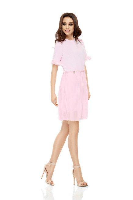 Zjawiskowa sukienka z plisowaniami pudrowy róż