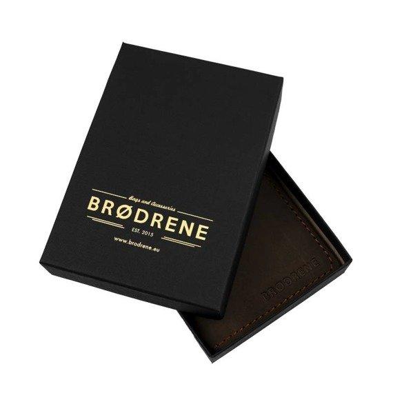Skórzany portfel SLIM wallet BRODRENE oliwkowy