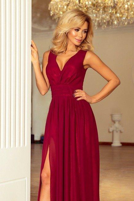 Marion MAXI szyfonowa sukienka z rozcięciem - bordowa