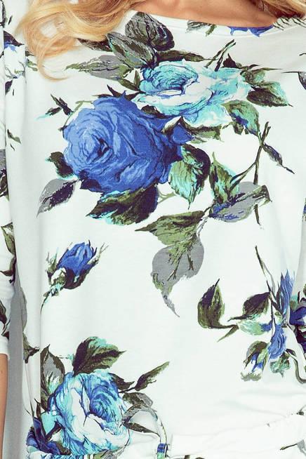 Joli Sukienka sportowa - ECRU + kolorowe duże CHABROWE kwiaty