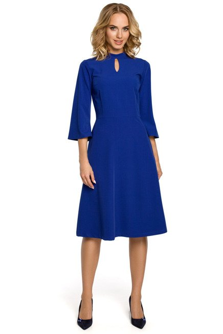 MADELAINE Sukienka z łezką w dekolcie i rozkloszowanymi rękawami - chabrowa