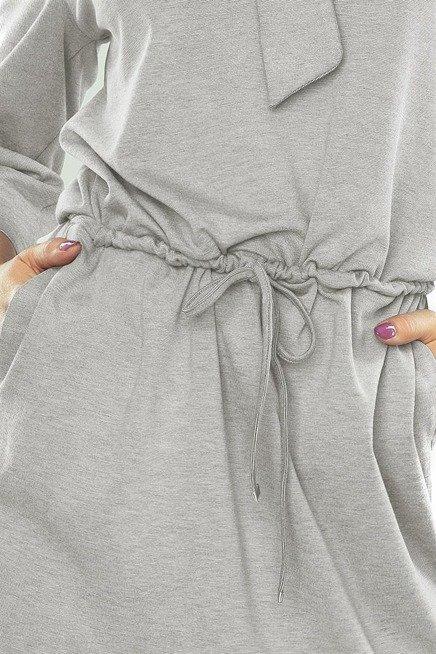 Alexia sukienka z wiązaniem pod szyją - bardzo JASNO SZARA melanż