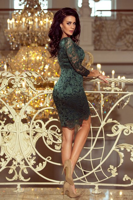Skyler Sukienka koronkowa z ozdobnymi wykończeniami - ZIELONA jasna