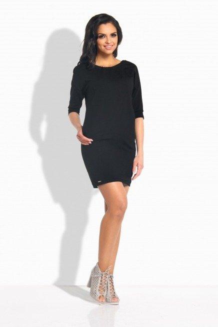 Sportowa sukienka z wiązaniem z tyłu czarna LILLIAN