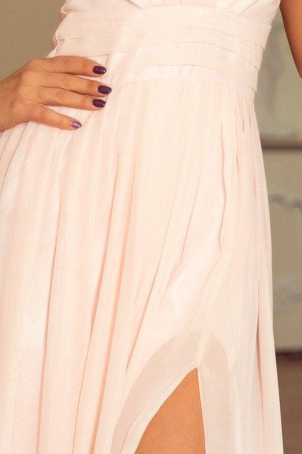 Marion MAXI szyfonowa sukienka z rozcięciem - BRZOSKWINIA