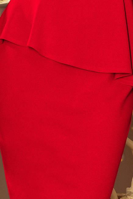 KLAUDIA Elegancka sukienka MIDI z baskinką - CZERWONA