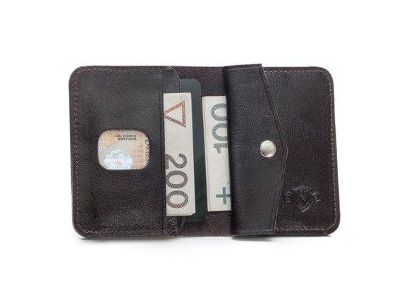 Cienki skórzany męski portfel z bilonówką SOLIER  SLIM CIEMNY BRĄZ
