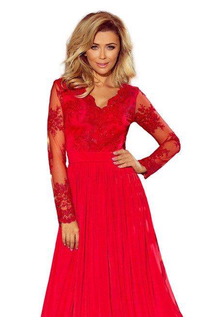 SARA długa suknia z haftowanym dekoltem i długim rękawkiem - CZERWONA