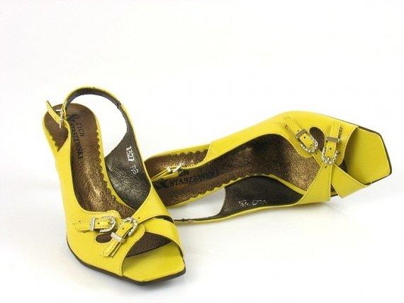 Polskie Żółte Sandały na Obcasie
