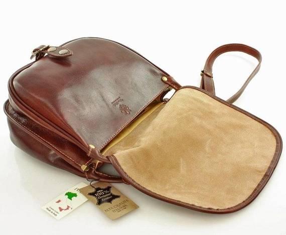 MICHELLE Duża torebka włoska na długim pasku brązowa