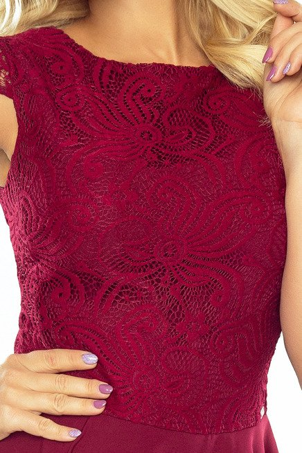 Sukienka rozkloszowana MARIA z koronką - bordowa
