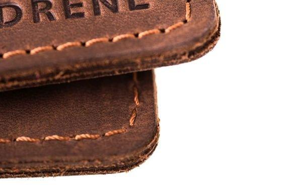 Cienki portfel ze skóry naturalnej BRODRENE ciemny brąz