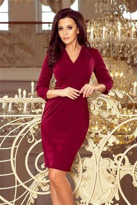 AMBER Elegancka sukienka z dekoltem - BORDOWA