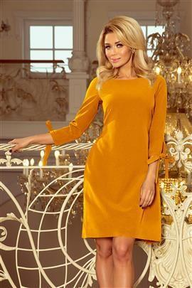 CARMEN Sukienka z kokardkami - MUSZTARDA