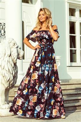 CONCHITA Długa suknia z hiszpańskim dekoltem - czarna w kolorowe kwiaty