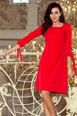 Carmen Sukienka z kokardkami - CZERWONA