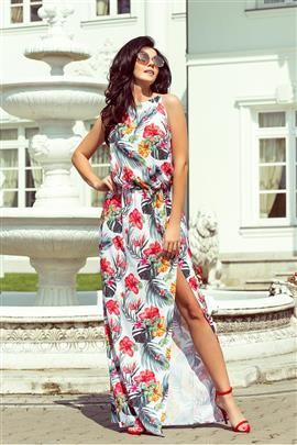DIANA Sukienka MAXI wiązana na szyi z rozcięciem - KWIATY NA BIAŁYM TLE