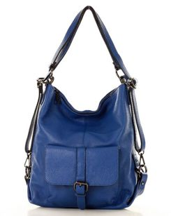 ELENA Torebka -  plecak ze skóry naturalnej MARCO MAZZINI - niebieska
