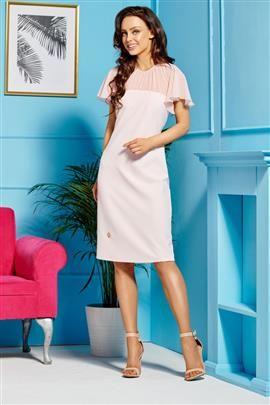 Elegancka sukienka z szyfonowymi rękawami i dekoltem pudrowy róż