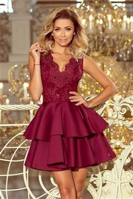 GLAMOUR - ekskluzywna sukienka z koronkowym dekoltem i pianką - BORDOWA