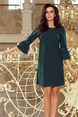 Haven sukienka z koronką na rękawkach - ZIELEŃ BUTELKOWA