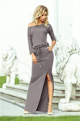 KLARIS MAXI sukienka sportowa z rozcięciem - SZARA