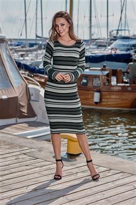 Kobieca ołówkowa sweterkowa sukienka grafit-jasnoszary-czarny