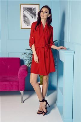 Koszulowa sukienka z kopertowym dekoltem z paskiem czerwony