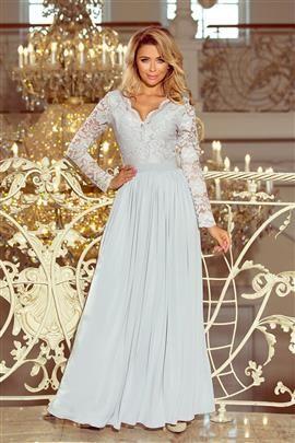 LUKSI długa suknia z koronkowym dekoltem i długim rękawkiem - SZARA