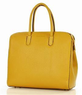 MARCO MAZZINI Torebka biznesowa kuferek skórzany do ręki żółta
