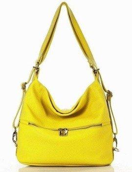 MARCO MAZZINI Torebka plecak skórzana z kieszonką z przodu żółta