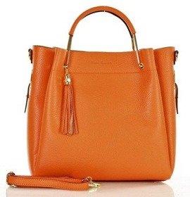 MARCO MAZZINI Torebka skórzana miejska kuferek handbag orange mandarino