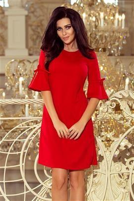 MIA Trapezowa sukienka z rozkloszowanymi rękawkami - CZERWONA