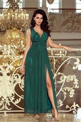 Marion MAXI szyfonowa sukienka z rozcięciem - ZIELEŃ BUTELKOWA
