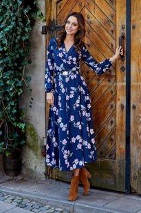 Modna sukienka midi granatowy w kwiatki