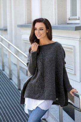 Modny sweter ponczo grafit MOLLY