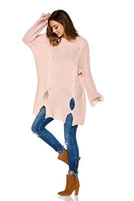 Moherowy sweter z wycięciami pudrowy róż ELISE