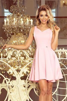 PAULA Rozkloszowana sukienka - dekolt w kształcie serduszka - PASTELOWY RÓŻ