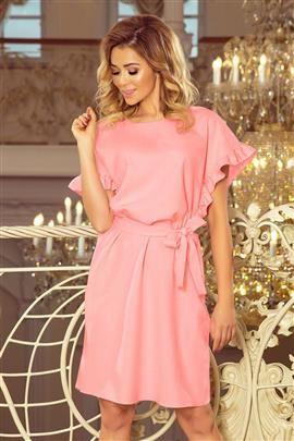 ROSALIA Sukienka z wiązaniem i falbankami na rękawkach - PASTELOWY RÓŻ