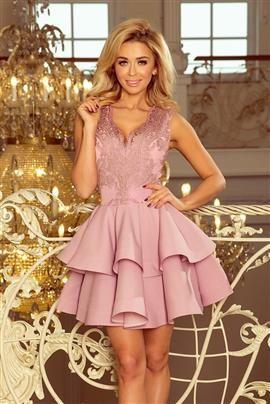 SABRINA - ekskluzywna sukienka z koronkowym dekoltem - LILA