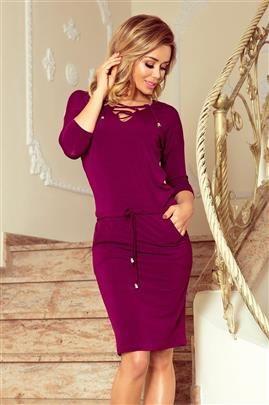 SUZANA Sukienka z wiązanym dekoltem - ŚLIWKA