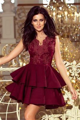 Sabrina - ekskluzywna sukienka z koronkowym dekoltem - BORDOWA
