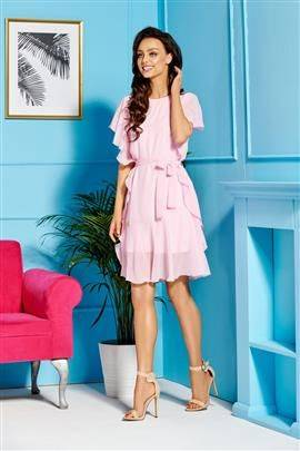 Sukienka z szyfonem i falbankami pudrowy róż